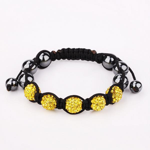 Vienna Jewelry Hand Made Five Stone Swarovksi Elements Bracelet-Yellow Citrine