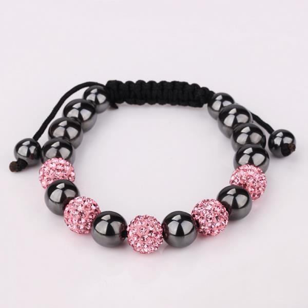 Vienna Jewelry Coral & Onyx Stone Hand Made Bracelet