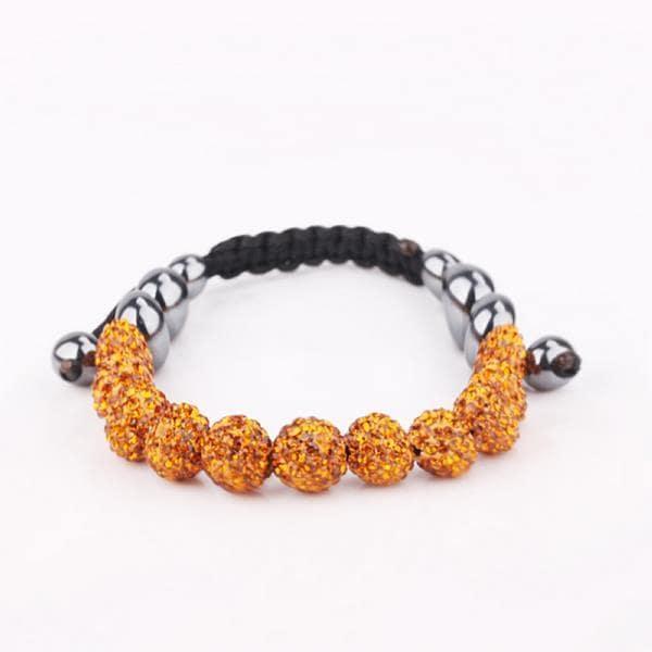 Vienna Jewelry Hand Made Eleven Stone Swarovksi Elements Bracelet- Vivid Orange Citrine