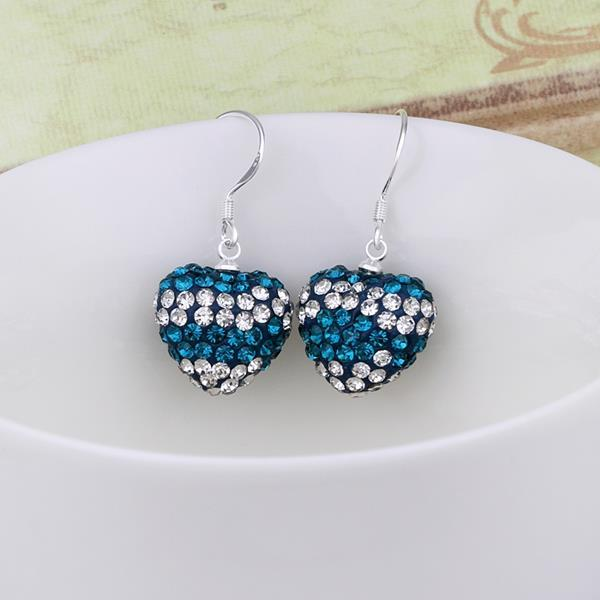 Vienna Jewelry Swarovksi Element Pave Heart Drop Earrings- Aqua Blue