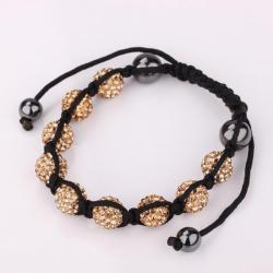 Vienna Jewelry Hand Made Eight Stone Swarovksi Elements Bracelet- Light Orange Citrine