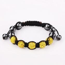 Vienna Jewelry Hand Made Five Stone Swarovksi Elements Bracelet-Yellow Citrine - Thumbnail 0