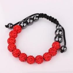Vienna Jewelry Hand Made Eleven Stone Swarovksi Elements Bracelet- Vibrant Ruby
