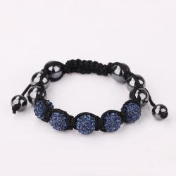 Vienna Jewelry Hand Made Five Stone Swarovksi Elements Bracelet-Dark Saphire - Thumbnail 0