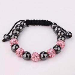 Vienna Jewelry Coral & Onyx Stone Hand Made Bracelet - Thumbnail 0