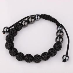 Vienna Jewelry Hand Made Eleven Stone Swarovksi Elements Bracelet- Vibrant Onyx - Thumbnail 0