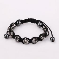 Vienna Jewelry Hand Made Eight Stone Swarovksi Elements Bracelet- Vibrant Onyx - Thumbnail 0