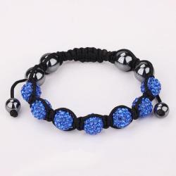 Vienna Jewelry Hand Made Six Stone Swarovksi Elements Bracelet- Dark Saphire