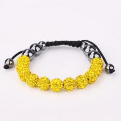 Vienna Jewelry Hand Made Eleven Stone Swarovksi Elements Bracelet- Vibrant Yellow Citrine