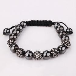 Vienna Jewelry Crystal & Onyx Stone Hand Made Bracelet - Thumbnail 0
