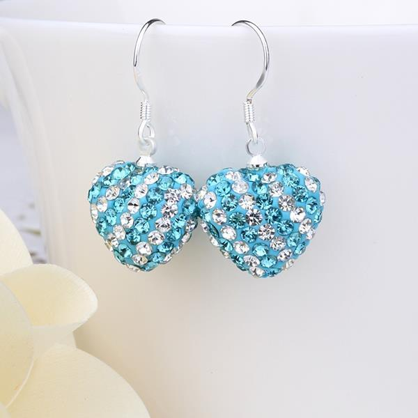 Vienna Jewelry Two Toned Swarovksi Element Hearts Drop Earrings-Aqua Saphire