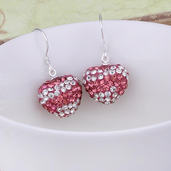 Vienna Jewelry Swarovksi Element Pave Heart Drop Earrings- Dark Pink - Thumbnail 0