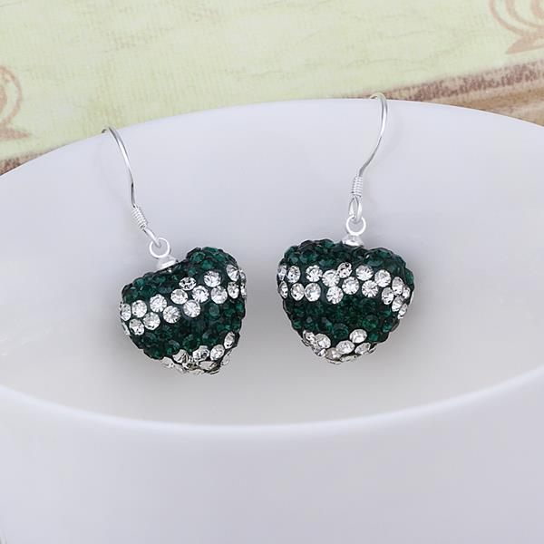 Vienna Jewelry Swarovksi Element Pave Heart Drop Earrings- Dark Emerald
