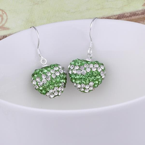 Vienna Jewelry Swarovksi Element Pave Heart Drop Earrings- Light Emerald - Thumbnail 0