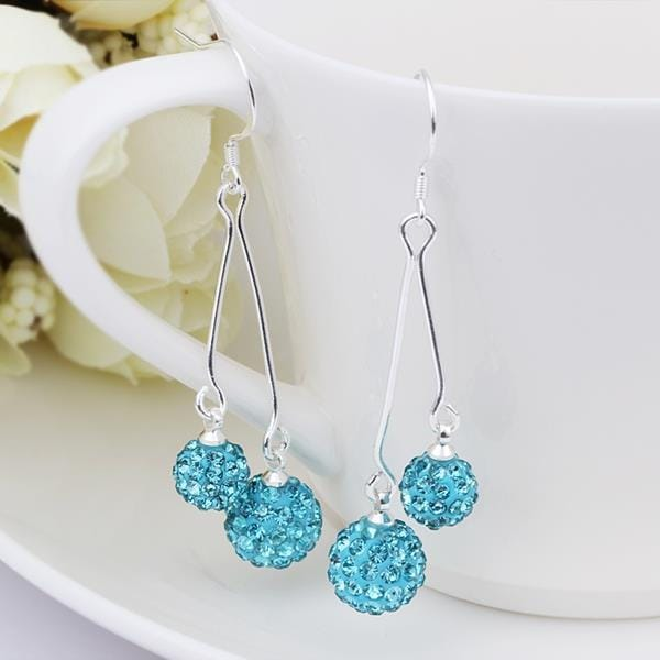 Vienna Jewelry Swarovksi Element Drop Earrings-Light Blue