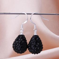 Vienna Jewelry Pear Shaped Solid Swarovksi Element Drop Earrings- Onyx - Thumbnail 0