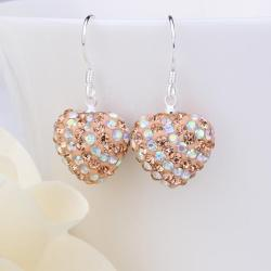 Vienna Jewelry Two Toned Swarovksi Element Hearts Drop Earrings-Dark Champagne - Thumbnail 0