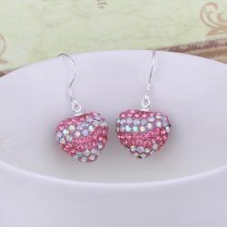 Vienna Jewelry Swarovksi Element Pave Heart Drop Earrings- Vivid Sharp Coral - Thumbnail 0