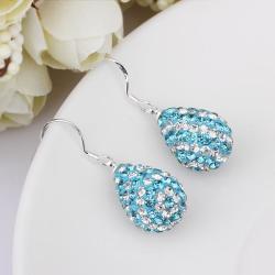 Vienna Jewelry Two Toned Swarovksi Element Pear Shaped Drop Earrings-Aruba Aqua