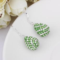Vienna Jewelry Two Toned Swarovksi Element Pear Shaped Drop Earrings- Light Emerald