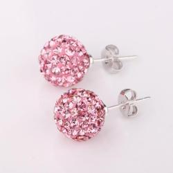 Vienna Jewelry Vivid Light Coral Swarovksi Element Crystal Stud Earrings