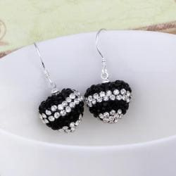 Vienna Jewelry Swarovksi Element Pave Heart Drop Earrings- Dark Onyx - Thumbnail 0