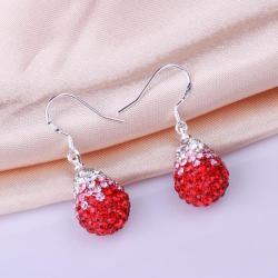 Vienna Jewelry Oval Shaped Swarovksi Element Drop Earrings-Ruby