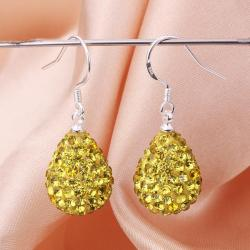 Vienna Jewelry Pear Shaped Solid Swarovksi Element Drop Earrings- Yellow Citrine