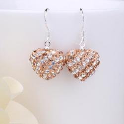 Vienna Jewelry Two Toned Swarovksi Element Hearts Drop Earrings-Orange Citrine - Thumbnail 0