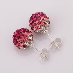 Vienna Jewelry Two Toned Swarovksi Element Stud Earrings- Dark Coral