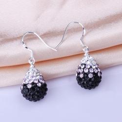 Vienna Jewelry Oval Shaped Swarovksi Element Drop Earrings-Onyx