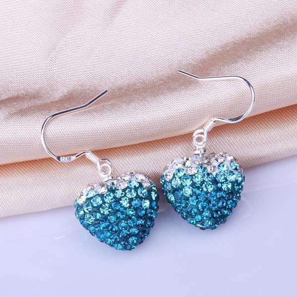 Vienna Jewelry Heart Shaped Swarovksi Element Drop Earrings-Light Saphire