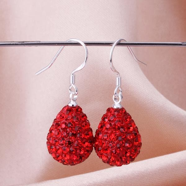Vienna Jewelry Pear Shaped Solid Swarovksi Element Drop Earrings- Ruby