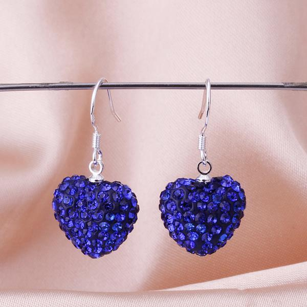 Vienna Jewelry Heart Shaped SolidSwarovksi Element Drop Earrings- Saphire - Thumbnail 0