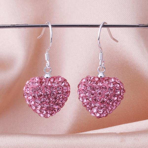 Vienna Jewelry Heart Shaped Solid Swarovksi Element Drop Earrings- Coral