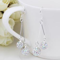 Vienna Jewelry Swarovksi Element Drop Earrings-Ivory - Thumbnail 0