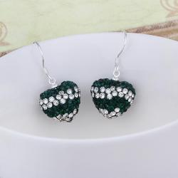 Vienna Jewelry Swarovksi Element Pave Heart Drop Earrings- Dark Emerald - Thumbnail 0