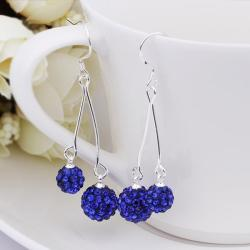 Vienna Jewelry Swarovksi Element Drop Earrings-Dark Blue - Thumbnail 0