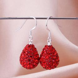 Vienna Jewelry Pear Shaped Solid Swarovksi Element Drop Earrings- Ruby - Thumbnail 0