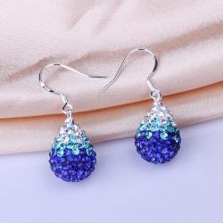 Vienna Jewelry Oval Shaped Swarovksi Element Drop Earrings-Saphire