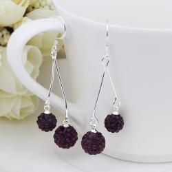 Vienna Jewelry Swarovksi Element Drop Earrings-Dark Lavender - Thumbnail 0