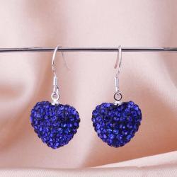 Vienna Jewelry Heart Shaped SolidSwarovksi Element Drop Earrings- Saphire - Thumbnail 0