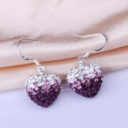 Vienna Jewelry Heart Shaped Swarovksi Element Drop Earrings-Dark Lavender