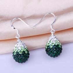 Vienna Jewelry Oval Shaped Swarovksi Element Drop Earrings-Emerald