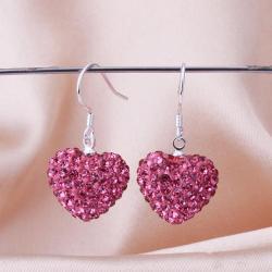 Vienna Jewelry Heart Shaped Solid Swarovksi Element Drop Earrings- Ruby - Thumbnail 0