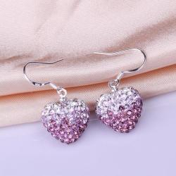Vienna Jewelry Heart Shaped Swarovksi Element Drop Earrings-Light Lavender - Thumbnail 0