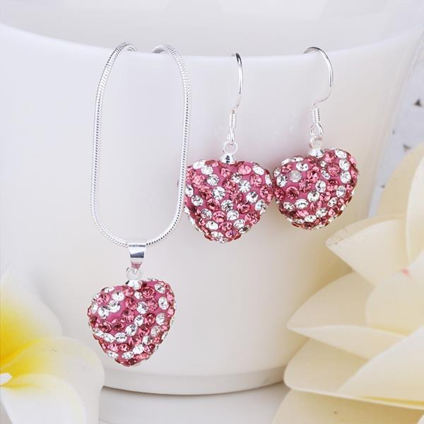 Vienna Jewelry Austrian Crystal Element Multi-Pave Heart Drop Earring and Necklace Set-Pink Crystal