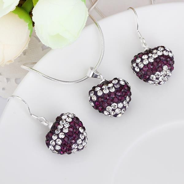 Vienna Jewelry Austrian Crystal Element Multi-Pave Heart Drop Earring and Necklace Set-Purple Crystal