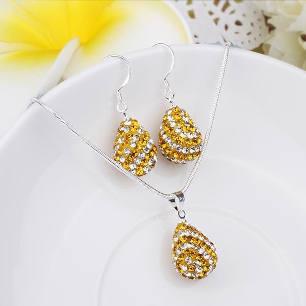 Vienna Jewelry Austrian Crystal Element Multi-Pave Pear Earring and Necklace Set-Gold