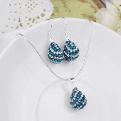 Vienna Jewelry Austrian Crystal Element Multi-Pave Pear Earring and Necklace Set-Butterfly Blue - Thumbnail 0